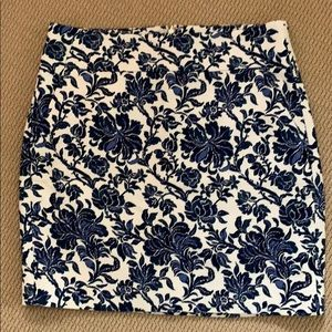 White and blue floral skirt j. Crew